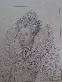 十九世纪 1880年代 铜版画 伊利莎伯一世女皇 可作墙饰、收藏或教学用途 VINTAGE COPPER ENGRAVING PRINT