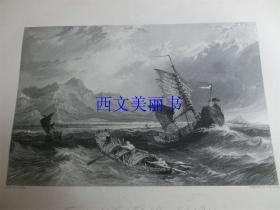 【现货 包邮】《长城尽头,暴风雨中的渤海湾》1845年铜/钢版画 托马斯-阿罗姆 (Thomas Allom)作品 尺寸约26.2 × 20.5厘米 出自中华帝国图景(货号18021)