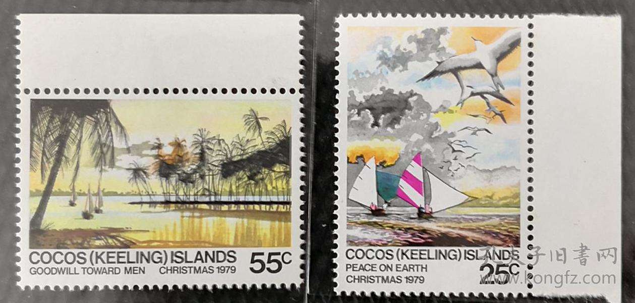科科斯群岛1979年  自然风光船和水鸟 2全新带边
