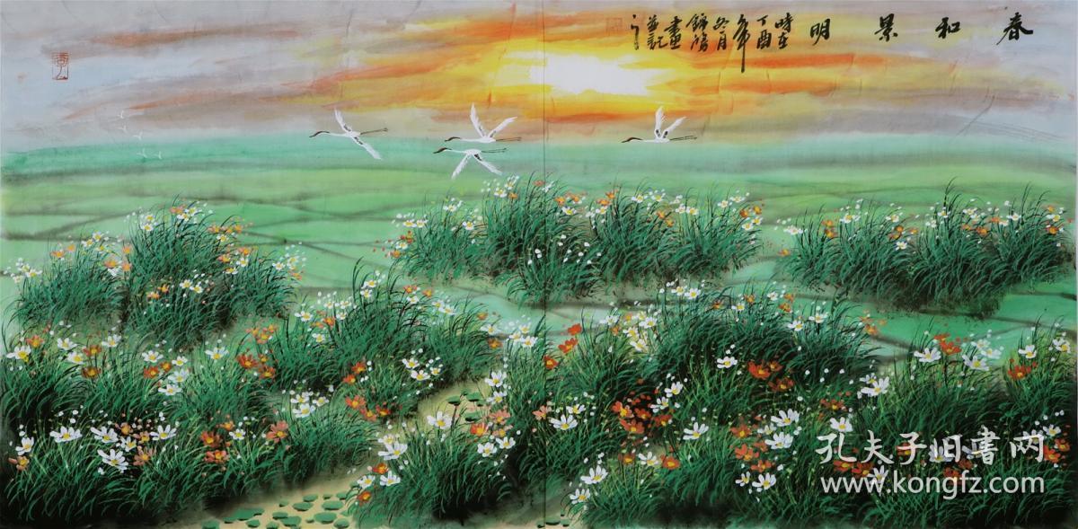 著名美女画家,李锦鸿风景画4尺横幅,适合客厅,会议室,办公室,宾馆装饰
