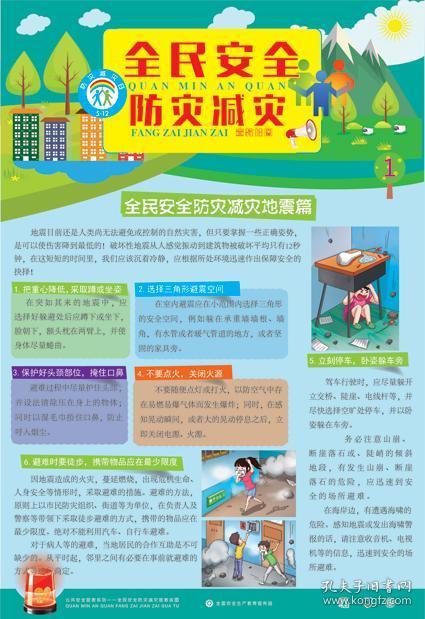 全民防灾减灾安全宣教挂图6张 套 安全宣传图片