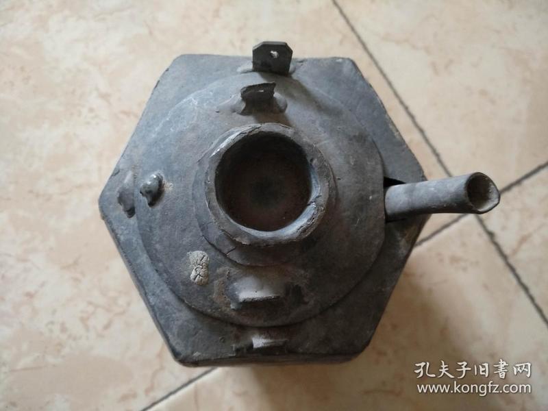旧藏民国六角凤凰图案锡壶温酒器一件