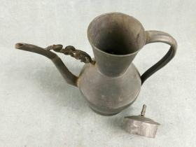 *FWPS3M-包真包老清代龙纹兽钮老锡壶,带盖,早期全手工打造,器形古朴漂亮少见