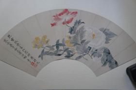 1985年二玄社(64.5*35CM):清恽寿平  花卉扇面