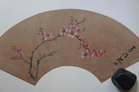 1985年二玄社(64.5*35CM):明沈仕  花卉扇面