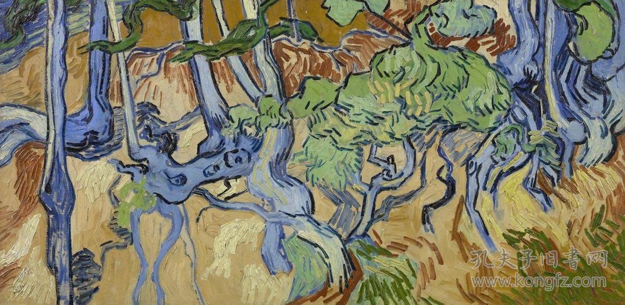 文森特·威廉·梵高-(vincent willem van gogh)-风景roots and tree