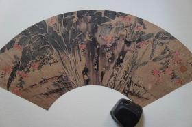 1985年二玄社(64.5*35CM):明陈栝  芭蕉紫薇扇面