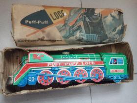 八十年代老铁皮玩具 冒烟绿皮火车