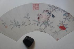 1985年二玄社(64.5*35CM):明张翀  花鸟扇面