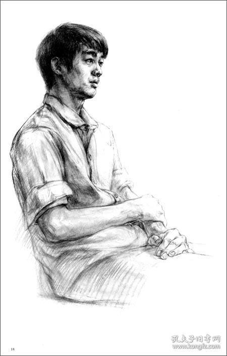 线性素描半身像白描半身像线性素描全身像(中国美术学院附中学生习作
