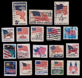 美国邮票----国旗集锦(信销票)