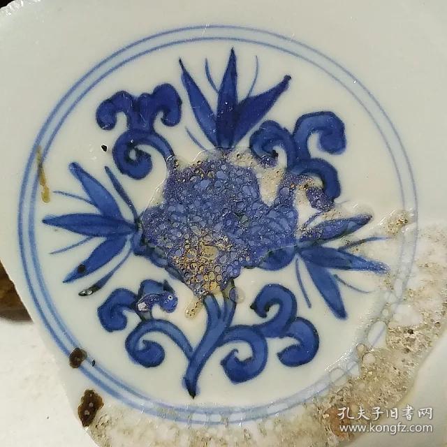 明万历花纹美器款青花古瓷片 古董古瓷宋元明清代老瓷盘碗罐炉壶杯瓶