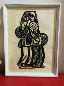 聂昌硕1980年木刻版画《悄悄话》手工丝网新刷老版画