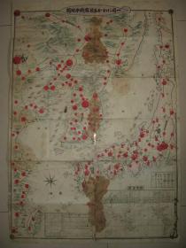 珍贵侵华地图 1904年《日俄战争地图》清国 满洲 马贼 军舰等(卡通漫画式绘图  )