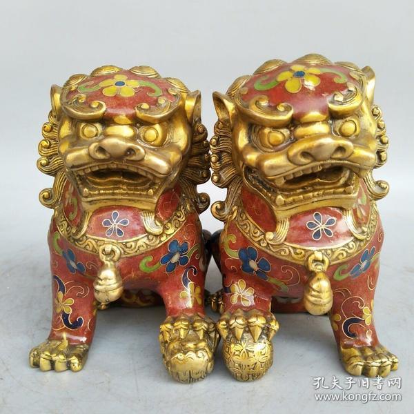 景泰蓝铜狮子一对尺寸如图,重2180克