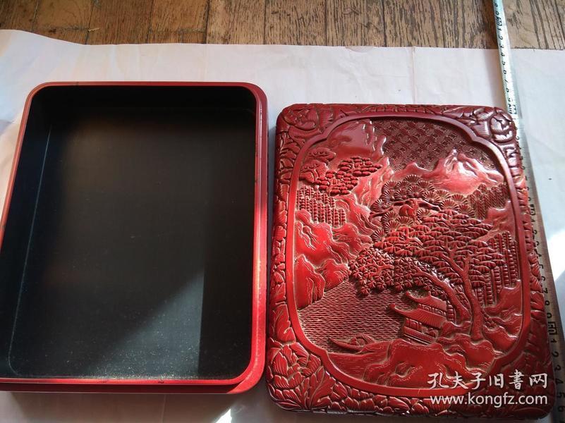老剔红 木胎 花卉 山水纹 大方盒