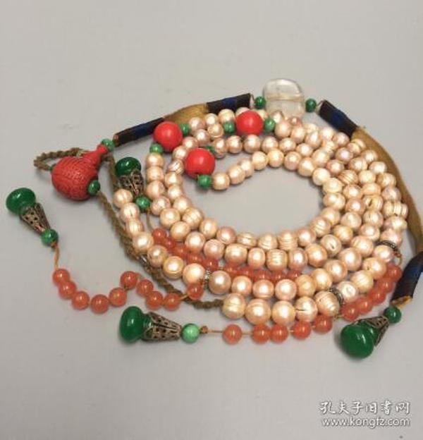 收来的珍珠朝珠一串 背云水晶 吊珠干青玉葫芦珠子