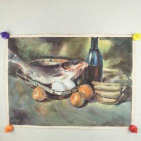 保真字画   八十年代【佚名】   水彩画《静物:红酒,香蕉和鱼》  52*38cm [柜7-2-3]