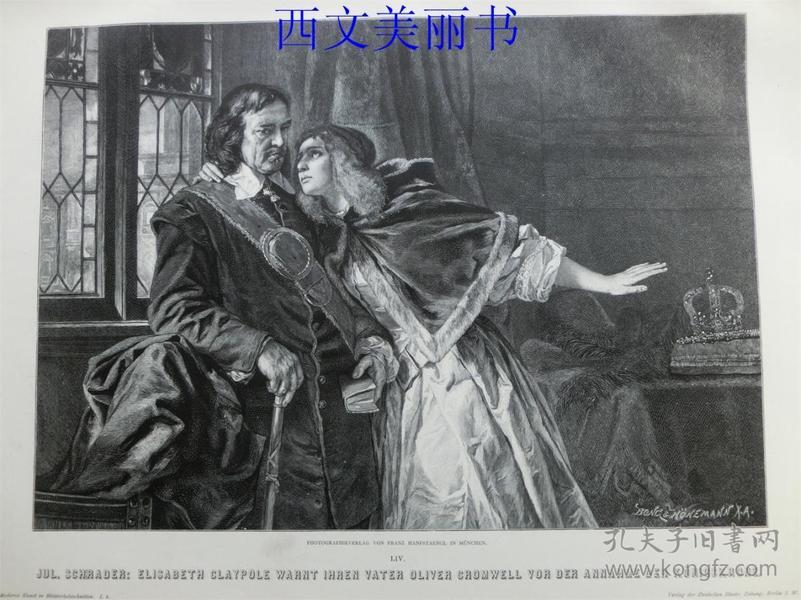 【现货 包邮】1887年木刻木刻版画《伊丽莎白克拉波尔》(Elisabeth claypole warnt ihren vater oliver ) 尺寸约41*29厘米(货号 18031)
