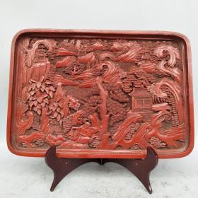 剔红漆器盘子《蓬莱仙境》屏风摆件尺寸如图,重1150克!