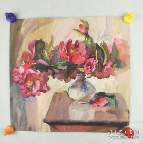 保真字画   八十年代【佚名】   水彩画《静物:鲜花》  37*39cm [柜7-2-3]