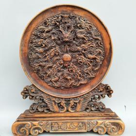 木雕屏风《九龙戏珠》尺寸如图,重920克