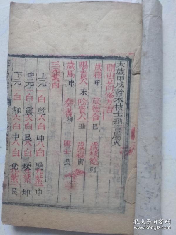 朱墨 套印 阴阳 五行          钦定协纪辨方书  卷  35  36一厚册。