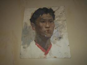 著名油画家顾祝君 早期油画写生:《红衣领青年》