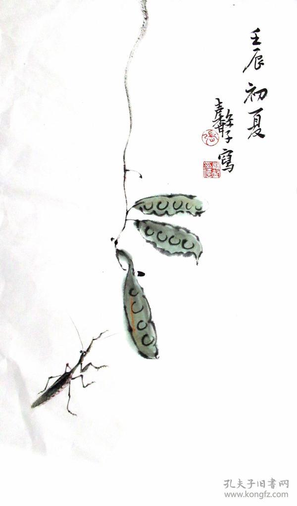江苏花鸟名家  张继馨  花鸟二尺中堂  国画作品虫趣