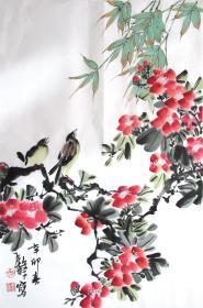 江苏花鸟名家  张继馨  (花丛双禽)花鸟二尺中堂 水墨 国画装饰收藏