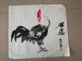 [3384 季平国画雄鸡图一幅