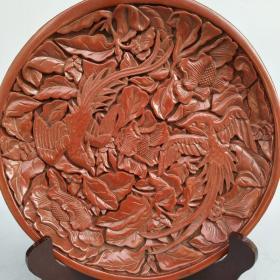 剔红漆器盘子《凤凰戏牡丹》屏风摆件尺寸重量如图!