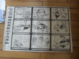 2开文革宣传漫画画---四人帮破坏抗震救灾十恶不赦(保真,包老)假了赔万!