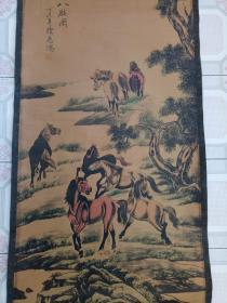 古字画·国画·挂画·【八骏图】客厅挂画·已装裱·实物拍摄·详情见图.