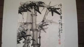 """年代不详-王尔仙作""""竹""""水墨画"""