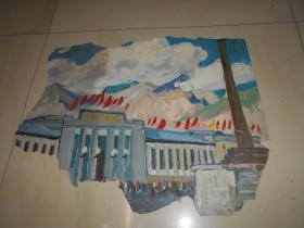 著名油画家顾祝君 早期油画写生:《雪域高原红旗飘》