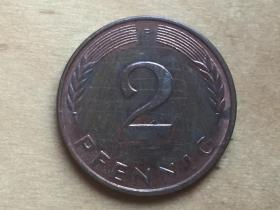 德国 2芬尼 硬币 2 pfennic 1996