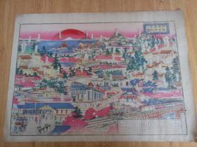 明治时代(清末)日本精印《伊势参宫名所案内之图 (游览图)》一大张,金属版(或石版)多色印刷,