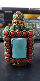古玩、古铜、绿松石镶嵌鼻烟壶、鼻烟壶、古瓷器小摆件、收藏把玩鼻烟壶2-1区
