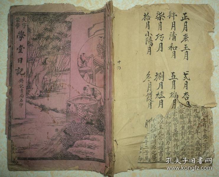 民国线装、【二十四孝日记故事】、绘图本全一册。