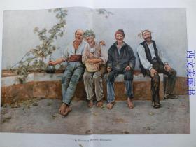 【现货 包邮】1890年巨幅套色木刻版画《酒后的快乐》(weinseling) 尺寸约56*41厘米  (货号 18026)