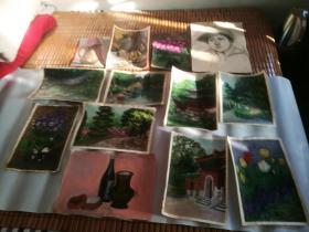 水彩、水粉建筑风景画、静物画等共13张合售;大的46x33cm;中的37x26cm;小的27x20cm