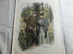 【現貨 包郵】1890年套色木刻版畫《狩獵時的小閑暇》(auf dem anstand)尺寸約41*28厘米(貨號100095)