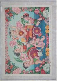 中国经典年画宣传画电影海报大展示----60年代年画系列--《四季花》-----对开-----虒人珍藏