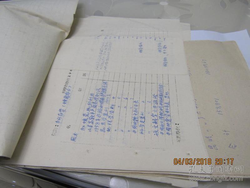 科学出版社全社1961年底图期刊盘存溢缺汇总表 手稿1本  914