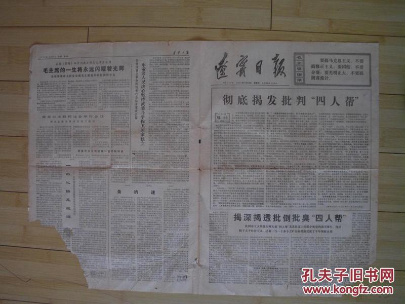 辽宁日报  1976年11月28日 第3123号    货号3