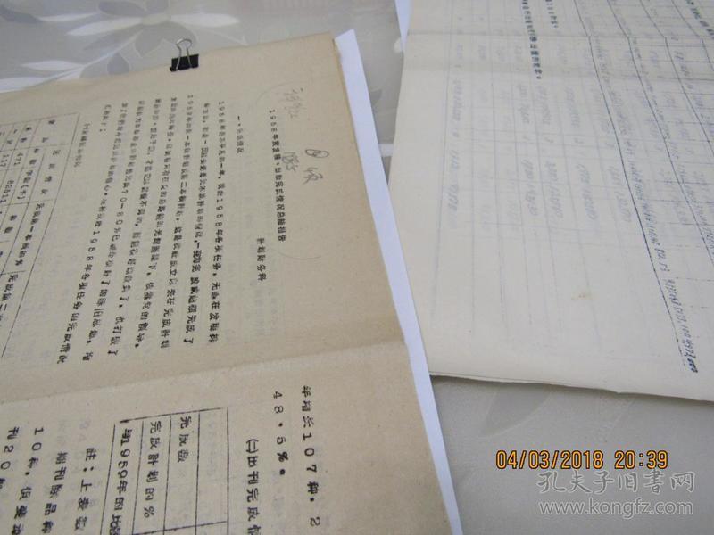 1958年度发稿出版完成情况总结报告 资料4页  914