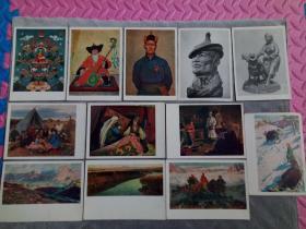 五六十年代,反映蒙古国风情的明信片 12枚