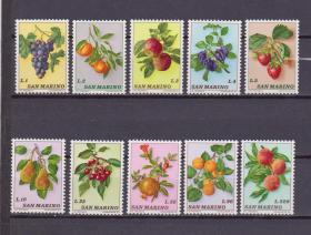 『圣马力诺邮票』1973年 水果 10全新