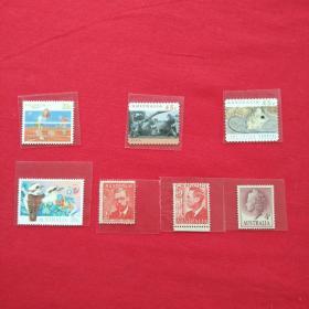 外国邮票澳大利亚邮票鸟植物网球运动树熊老鼠男人像女人像动物邮票收藏